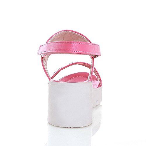 AllhqFashion Mujeres Puntera Abierta Dos tonos Velcro Sandalia de Cuña Rosa