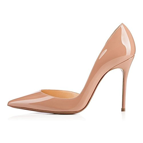 Women Patent Leather Pointed High-heeled Shoes Nude - 8