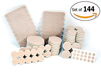 Self Adhesive Felt Furniture Pads Anti Skid Protector for Carpet , Tiles , Laminates and Hardwood Floors - Premium 144 Cover Pieces Scratch Protection . Silicone Bumper Pads Protection for Walls