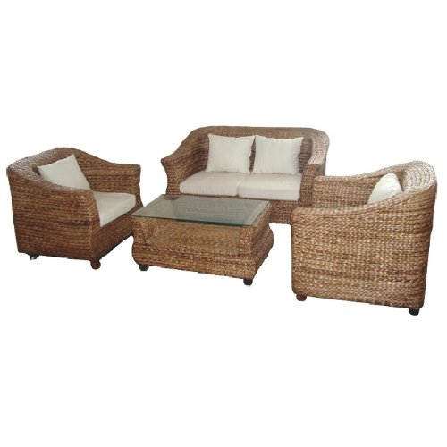 Patio Furniture Seagrass (Essential Décor Entrada Collection 4-Piece Sea Grass Sofa Set with Coffee Table, Light Brown)