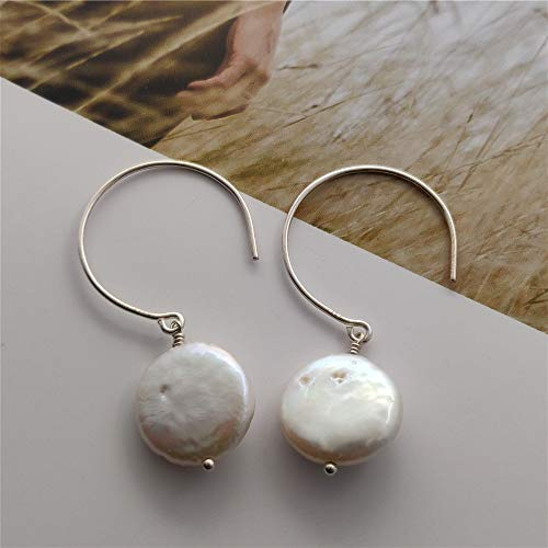 Ring Coin Pearl - Sterling Silver Big C Earrings Hook Coin Freshwater Cultured Pearl Wiring