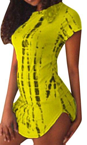Irregular Sleeves Yellow Women Printed Night Dress Short Jaycargogo Slim Club Fashion qgC6w5