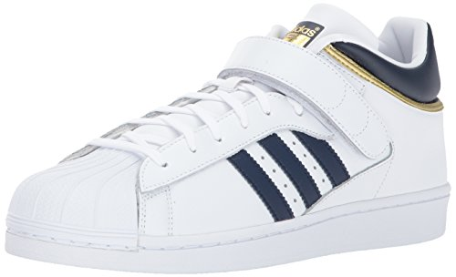 adidas Originals Men's PRO Shell Running Shoe, White/Collegiate Navy/Metallic Gold, 11 Medium US