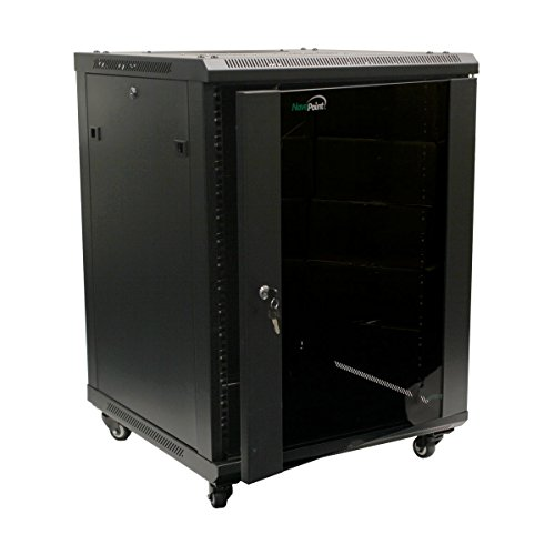 NavePoint 15U Wall Mount Server Data Cabinet 24-inch Depth Glass Door Lock & Key -