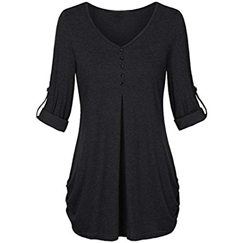 Clearance!Youngh New Womens Blouses Plus Size V Neck Solid Blouses Button Loose Long Sleeve Daily Fashion Blouse T Shirt Tops by Youngh Top