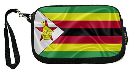 Rikki Knight Zimbabwe Flag - Neoprene Clutch Wristlet Coin Purse with Safety Closure