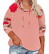 CARCOS Plus Size Hoodies for Women Long Sleeve Pullover Sweatshirt Drawstring Tops XL-5XL