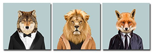 Gardenia-Art-Animal-World-Series-3-Lion-Wolf-and-Fox-Canvas-Prints-Modern-Wall-Art-Paintings-Puppy-Wild-animal-Giclee-Artwork-for-Room-Decoration