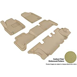 3D MAXpider Complete Set Custom Fit All-Weather Floor Mat for Select Infiniti QX80/QX56 Models - Kagu Rubber (Tan)