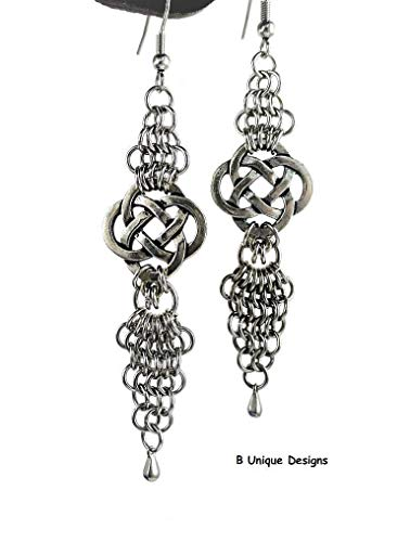Celtic Knot Chain-Mail Earrings Endless Knots Handmade Stainless Steel Unique Maille Jewelry For Women Chainmaille Linked Ring Chains Mother's Day