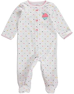 Baby Girls' Terry Snap-Up Sleep & Play Pajamas (6 Months, White/Cupcake)
