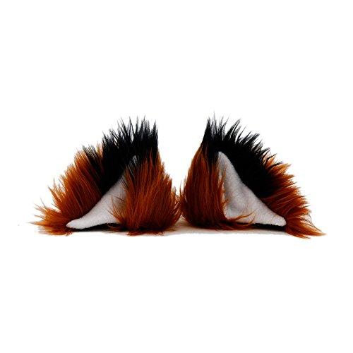 Pawstar Clip In Furry Fox Yip Ears Hair Clips On - Rust