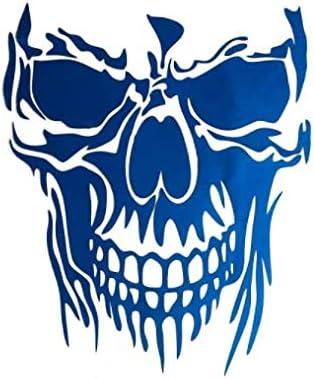 Alamor 23 X 29,5 Cm Skull Hood Car Stickers Vinyl Decalcomanie Auto Body Truck Portellone Porta Finestra Universale Blu