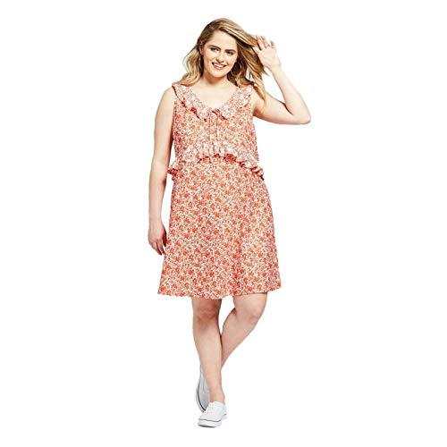 (Xhilaration Women's Plus Size Floral Print Ruffle Knit Sleeveless Sundress Orange/White X)