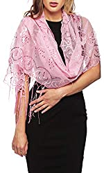 Light Pink Mesh With Sequin Metallic Shawl with Fringe
