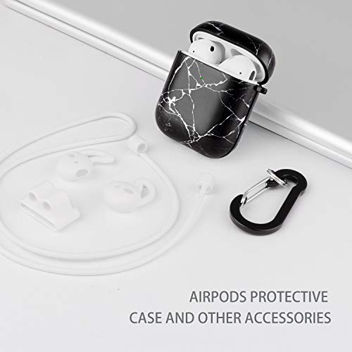 Cutebricase Airpods Case, Black Marble Airpod Case Protective Hard Case Cover for Apple AirPods 2 & 1 with Keychain Compatible with Wireless Charging (Black Marble)