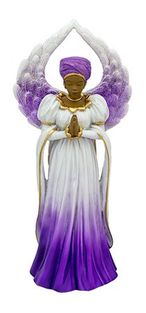 - African American Woman Praise and Worship Religious Spiritual Angel Figurine Pink White Gold