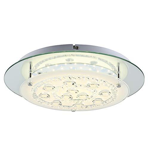- Auffel LED Ceiling Light,Minimalist Kitchen Light Fixture K9 Crystal+Glass+Metal Dimmable Flush Mount Lamp,14-Inch 1980ML 4000K Daylight White Chandelier Lighting for Balcony,Bathroom,Hallway,Bathroom