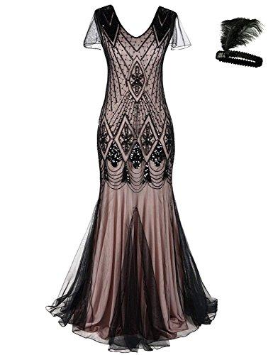 Women 1920s Flapper Cocktail Maxi Long Gatsby Evening Dress Mermaid Formal Gown (Black/Pink, XL) ()