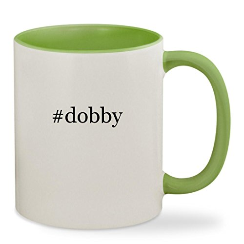 #dobby - 11oz Hashtag Colored Inside & Handle Sturdy Ceramic Coffee Cup Mug, Light Green - Dobby The Elf Dog Costume