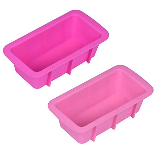 Fluted Loaf - SanCanSn Cake Mould, Silicone Bread Mould Loaf Cake Mold Non Stick Bakeware Baking Pan Oven Rectangle Mould (Pink, 6.3X3.3X1.9inch)