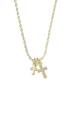 Amazon Com Goldtone Super Mini Simple Cross Crystal Cross