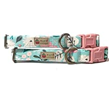 Very Vintage Design Garden Path Dog Cat Collar Ice Frappe Light Pink Gray Girly Vintage Inspired Floral Flowers Dog Collar Organic Cotton Pet Collar