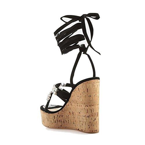 Mujer Peep Sandalias Hn Del Tobillo Confort Tacón Shoes Correas Zapatos Verano De Cuña Black Plataforma Toe Negro SIqW4pqc