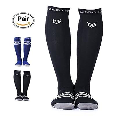 TOITEHOO Compression Socks for Men & Women, Best Graduated Athletic Running Socks Fit for Running, Nurses, Shin Splints, Flight Travel, Maternity Pregnancy - Black