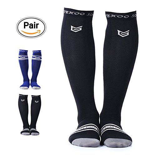 Compression Socks for Men & Women, TOITEHOO Best Graduated Athletic Running Socks Fit for Running, Nurses, Shin Splints, Flight Travel, & Maternity Pregnancy – Black - 360 Degree Foot Ring