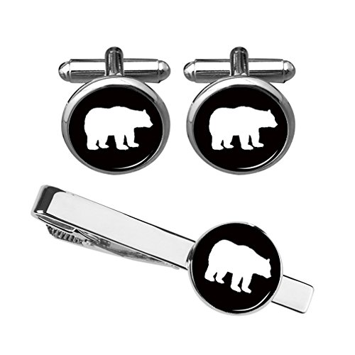 ZUNON Cufflinks Bear Cufflinks Custom Polar Bear Tie Clips Mens Dome Glass Tuxedo Animal Gummy Gift Box (Bear Cufflinks and tie clip silver)