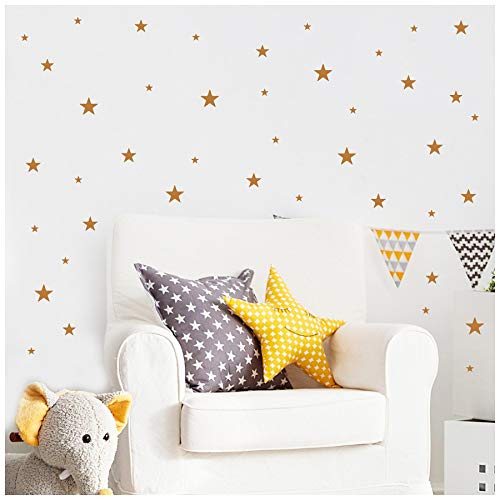 Stars Assorted Self Adhesive Vinyl Wall Pattern Decal Stickers (Set of 108, Metallic Copper) -