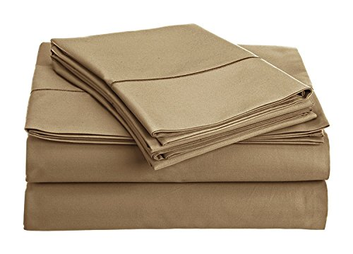Chateau Home Collection 800-Thread-Count Egyptian Cotton Deep Pocket Sateen Weave King Sheet Set, Wheat