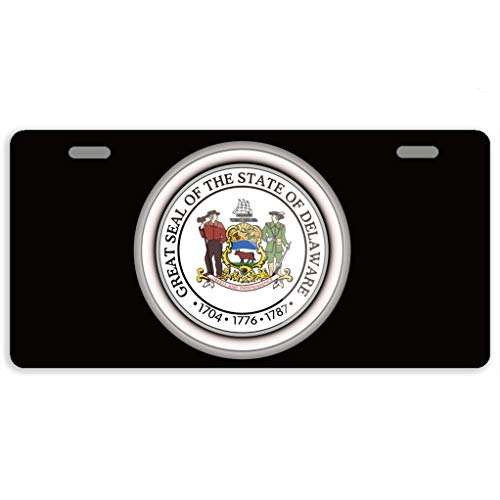 Eprocase License Plate Cover Automotive License Plate Novelty Car Tag Metal Decorative Tags Auto Sign Front License Plates 2 Holes 11.8 x 6.1 Inches, The Great Seal of The State of Delaware