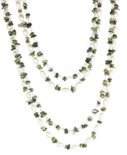 (HinsonGayle 'Olive' 2-Strand Freshwater Cultured Pearl & Moss Green Jasper Necklace & Dangle Earrings-40 in)