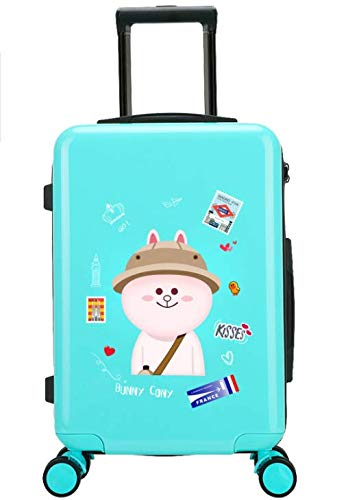 24インチスーツケース小さな新鮮な大学生のトロリーユニバーサルホイールスーツケース (Color : ブルー) B07MQLGR1H