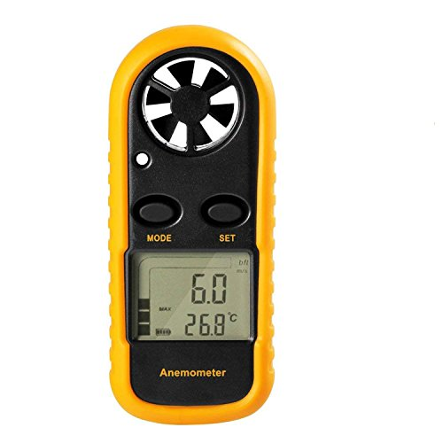 GM816 Digital Handheld Anemometer, Pocket Digital Anemometer with LCD Display for Measuring Wind Speed, Temperature and Wind Chill (Portable Wind Meter)