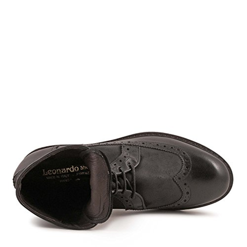 LEONARDO SHOES HOMME 4682BLACK NOIR CUIR BOTTINES