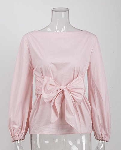 Tops Fashion Et Couleur Col Bandage Unie Femme Sexy Lanterne Blouse Bowknot Chemisiers Manchon Haut Bateau JackenLOVE Rose Shirts 5dqwWItPq