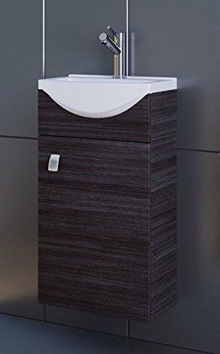 Planetmöbel Waschbecken mit Waschbeckenunterschrank/Waschtisch-Unterschrank  44cm Gäste Bad WC (Anthrazit)
