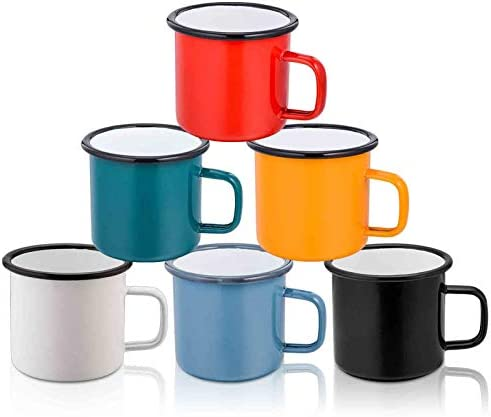TeamFar Coffee Mug, 12 oz Tea Enamel Mug Camp Drinking Cups, White/Blue/Green/Black/Red/Yellow Vintage for Indoors and Outdoors, Non Toxic & Portable, Attractive Color & Classic Design – Set of 6