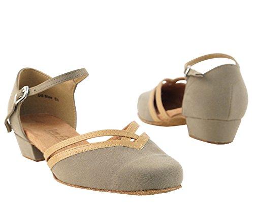 Very Fine Ladies Women Ballroom Dance Shoes EK8881 Brown Nubuck & Beige Brown Trim 1