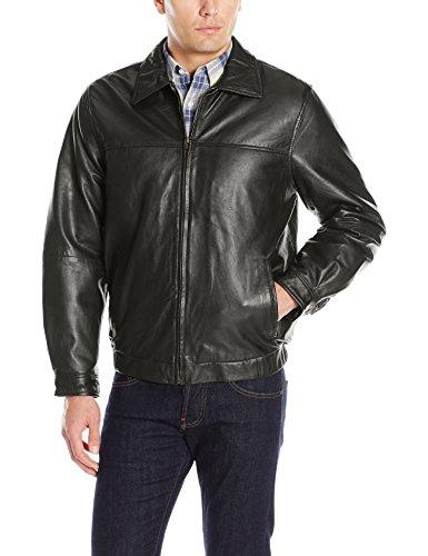 (Excelled Men's Shirt Collar Leather Jacket, Black, Large)