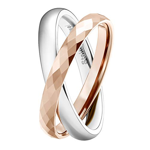 SHINYSO 3MM Tungsten Carbide & Stainless Steel Crossing Rings Two-Tone Interlocked High Polished Wedding Band for Women(6)