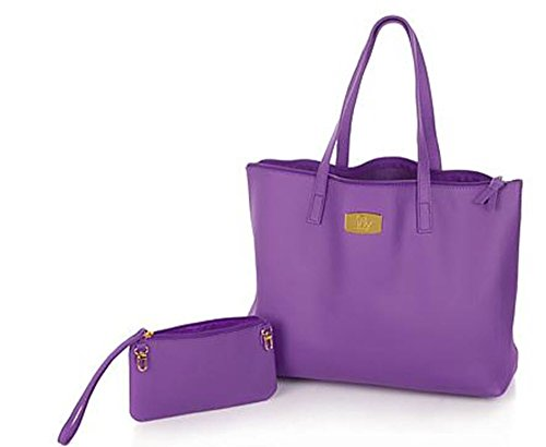 JOY Genuine Leather Smart Bag with RFID-Protected Clutch Purple