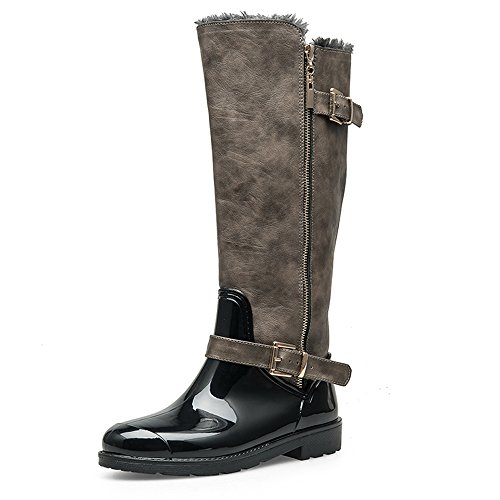 Faux Water Women's TONGPU fur High Rain Boots Knee Black Resistant Lining pnqB7B5
