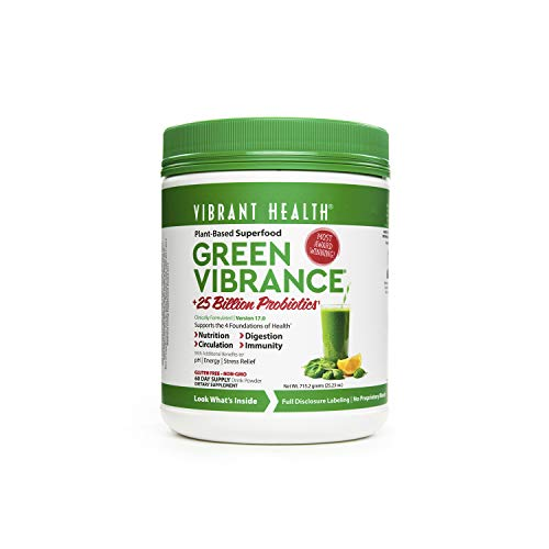 Alkalizing Powder (Vibrant Health - Green Vibrance, Plant-Based Superfood to Support Immunity, Digestion, and Energy with Over 70 Ingredients, 25 Billion Probiotics, Gluten Free, Non-GMO, Vegetarian, 60 Servings (FFP))