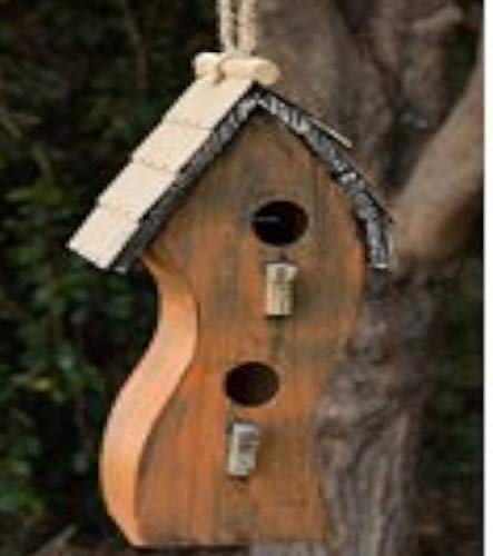 Orange Swirly Wooden Birdhouse beautifully handmade nature lover color