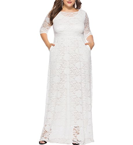 Eternatastic Womens Floral Lace 2/3 Sleeves Maxi Dress Evening Party Long Dress 3XL White