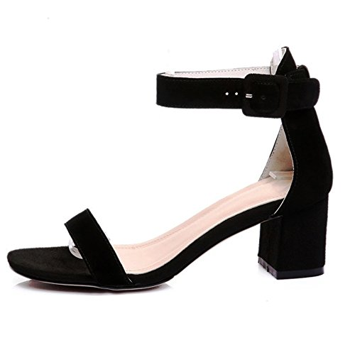 Hecater Women's Leather Chunky High Heel Pump Sandals Square Buckle Wedding Party Shoes Black Size 12 - 12 Square Heel